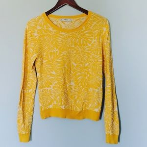 Zara Knit Palm Leaves Fronds Mustard Sweater